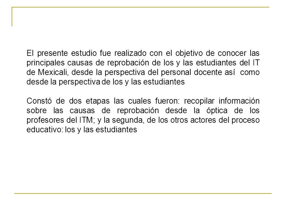 El presente estudio fue realizado con el objetivo de conocer las principales causas de reprobación de los y las estudiantes del IT de Mexicali, desde