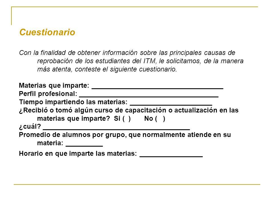 Cuestionario Con la finalidad de obtener información sobre las principales causas de reprobación de los estudiantes del ITM, le solicitamos, de la man