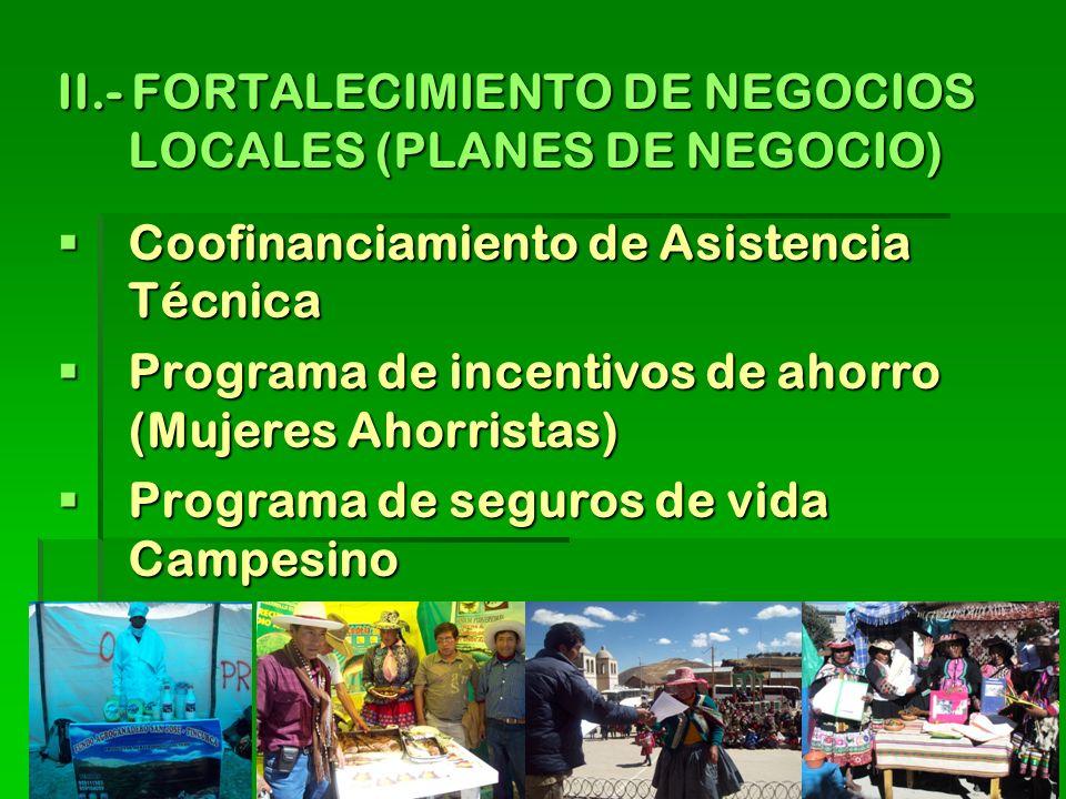 II.- FORTALECIMIENTO DE NEGOCIOS LOCALES (PLANES DE NEGOCIO) Coofinanciamiento de Asistencia Técnica Coofinanciamiento de Asistencia Técnica Programa de incentivos de ahorro (Mujeres Ahorristas) Programa de incentivos de ahorro (Mujeres Ahorristas) Programa de seguros de vida Campesino Programa de seguros de vida Campesino