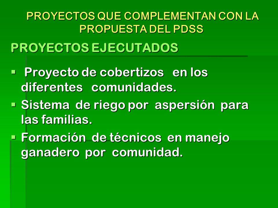 PROYECTOS QUE COMPLEMENTAN CON LA PROPUESTA DEL PDSS PROYECTOS QUE COMPLEMENTAN CON LA PROPUESTA DEL PDSS PROYECTOS EJECUTADOS Proyecto de cobertizos en los diferentes comunidades.