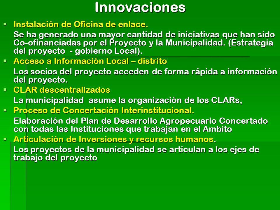 Innovaciones Instalación de Oficina de enlace. Instalación de Oficina de enlace. Se ha generado una mayor cantidad de iniciativas que han sido Co-ofin