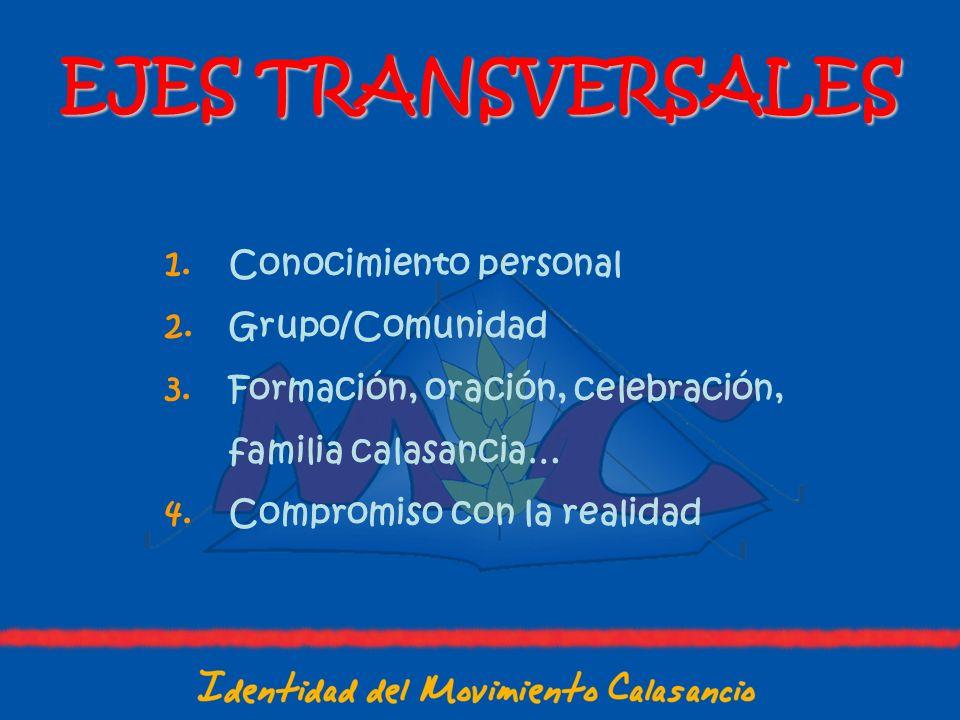 EJES TRANSVERSALES 1.Conocimiento personal 2.Grupo/Comunidad 3.Formación, oración, celebración, familia calasancia… 4.Compromiso con la realidad