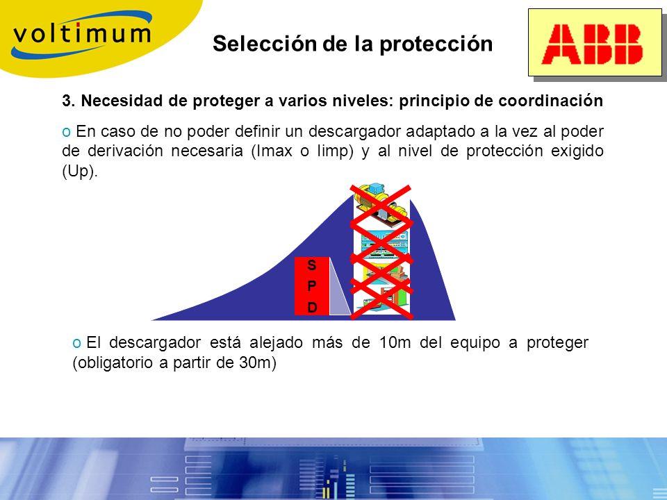Selección de la protección 2. Determinación del nivel de protección Up: Asegurar un nivel de protección compatible con la tensión tolerada por el equi