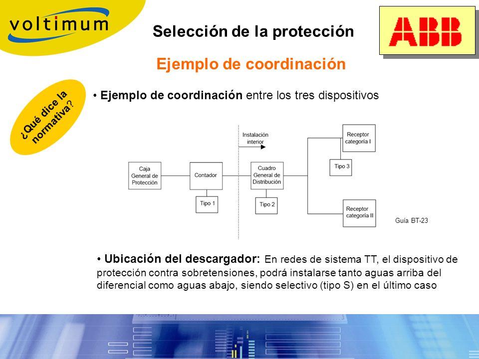 Selección de la protección 3. Necesidad de proteger a varios niveles: principio de coordinación o En caso de no poder definir un descargador adaptado