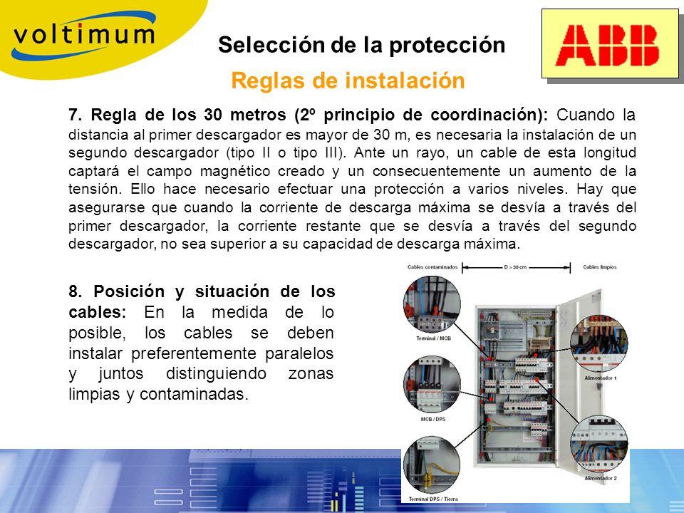 Selección de la protección Reglas de instalación 4. Sección de los conductores: La sección de conexionado de los descargadores debe ser la indicada en