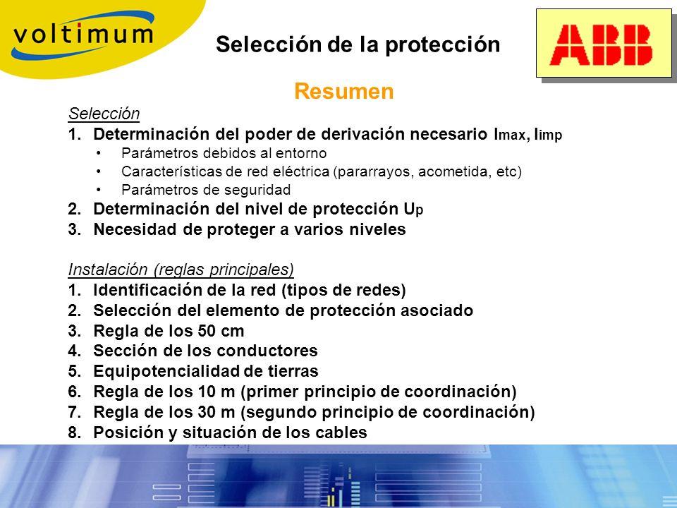Selección de la protección Reglas de instalación 7. Regla de los 30 metros (2º principio de coordinación): Cuando la distancia al primer descargador e