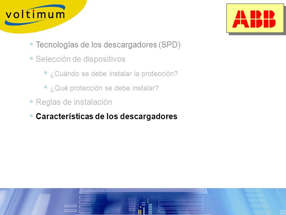 Selección de la protección Resumen Selección 1.Determinación del poder de derivación necesario I max, I imp Parámetros debidos al entorno Característi