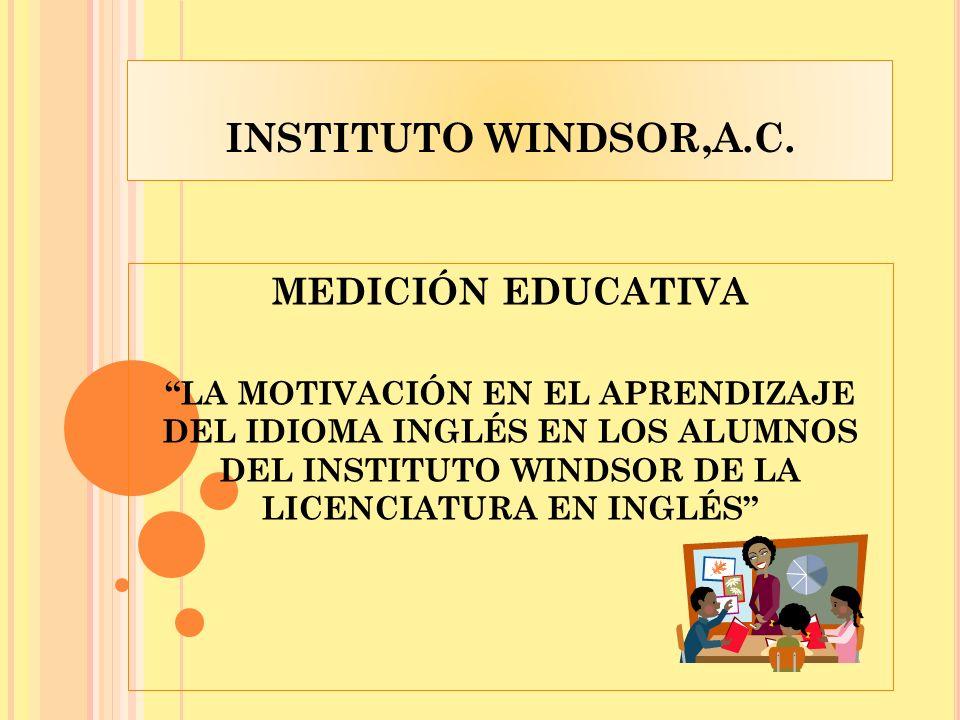INSTITUTO WINDSOR,A.C. MEDICIÓN EDUCATIVA LA MOTIVACIÓN EN EL APRENDIZAJE DEL IDIOMA INGLÉS EN LOS ALUMNOS DEL INSTITUTO WINDSOR DE LA LICENCIATURA EN