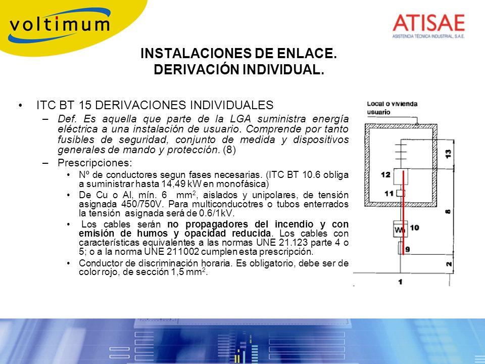 INSTALACIONES DE ENLACE. DERIVACIÓN INDIVIDUAL. ITC BT 15 DERIVACIONES INDIVIDUALES –Def. Es aquella que parte de la LGA suministra energía eléctrica