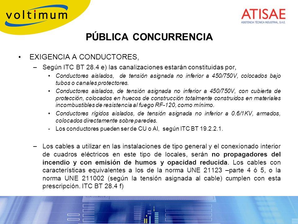PÚBLICA CONCURRENCIA EXIGENCIA A CONDUCTORES, –Según ITC BT 28.4 e) las canalizaciones estarán constituidas por, Conductores aislados, de tensión asig