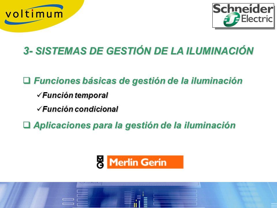 3- SISTEMAS DE GESTIÓN DE LA ILUMINACIÓN Funciones básicas de gestión de la iluminación Funciones básicas de gestión de la iluminación Función tempora