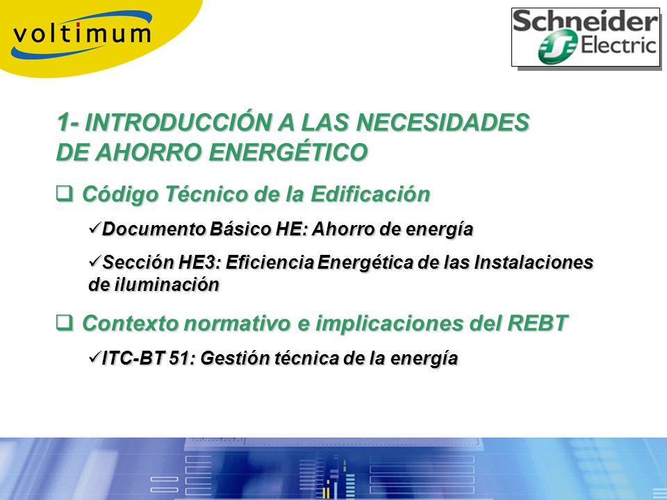1- INTRODUCCIÓN A LAS NECESIDADES DE AHORRO ENERGÉTICO Código Técnico de la Edificación Código Técnico de la Edificación Documento Básico HE: Ahorro d