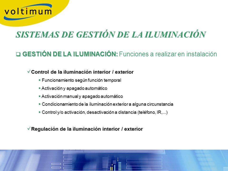 GESTIÓN DE LA ILUMINACIÓN: GESTIÓN DE LA ILUMINACIÓN: Funciones a realizar en instalación Control de la iluminación interior / exterior Control de la