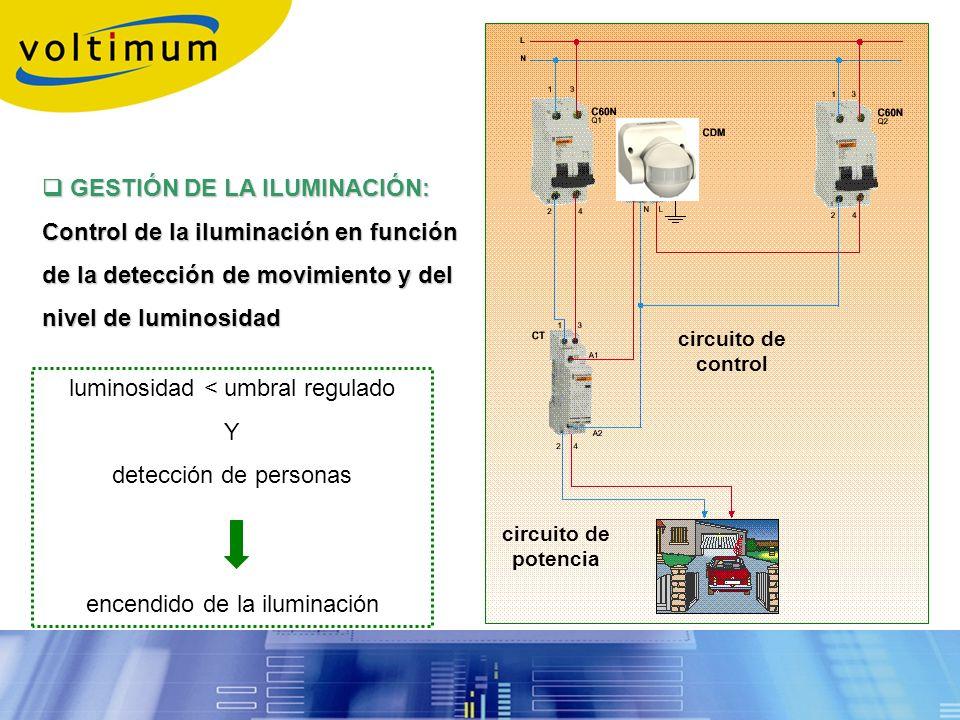 GESTIÓN DE LA ILUMINACIÓN: GESTIÓN DE LA ILUMINACIÓN: Control de la iluminación en función de la detección de movimiento y del nivel de luminosidad lu