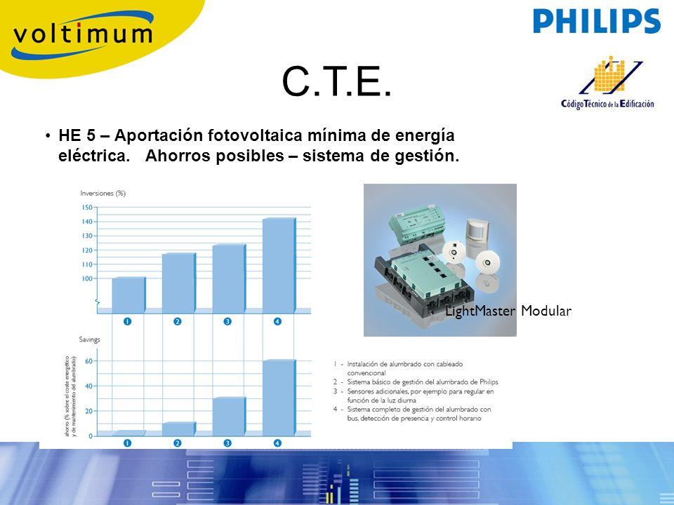 HE 5 – Aportación fotovoltaica mínima de energía eléctrica. Ahorros posibles – sistema de gestión. C.T.E. LightMaster Modular