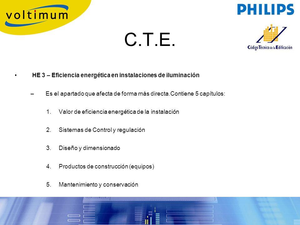 C.T.E. HE 3 – Eficiencia energética en instalaciones de iluminación –Es el apartado que afecta de forma más directa.Contiene 5 capítulos: 1.Valor de e