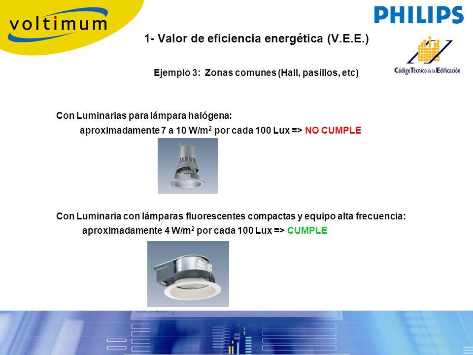 1- Valor de eficiencia energética (V.E.E.) Ejemplo 3: Zonas comunes (Hall, pasillos, etc) Con Luminarias para lámpara halógena: aproximadamente 7 a 10