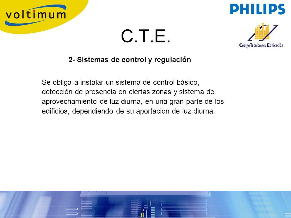 C.T.E. 2- Sistemas de control y regulación Se obliga a instalar un sistema de control básico, detección de presencia en ciertas zonas y sistema de apr