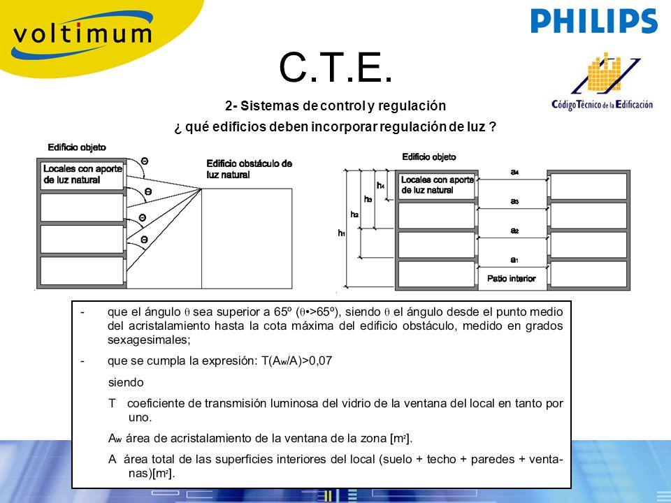 C.T.E. 2- Sistemas de control y regulación ¿ qué edificios deben incorporar regulación de luz ?.