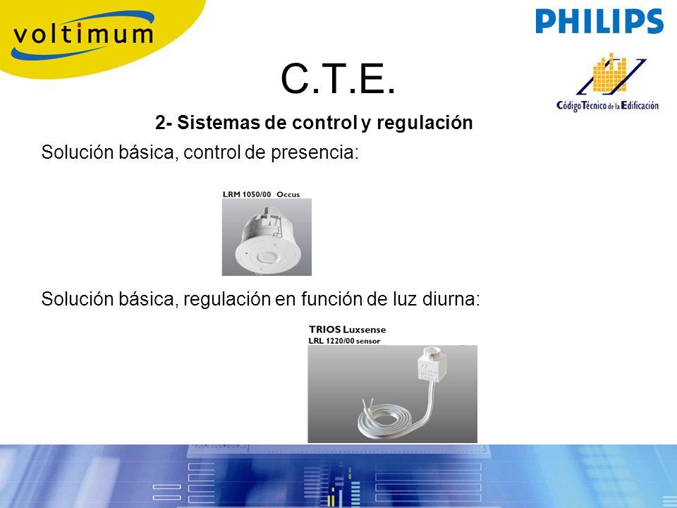 C.T.E. 2- Sistemas de control y regulación Solución básica, control de presencia: Solución básica, regulación en función de luz diurna: