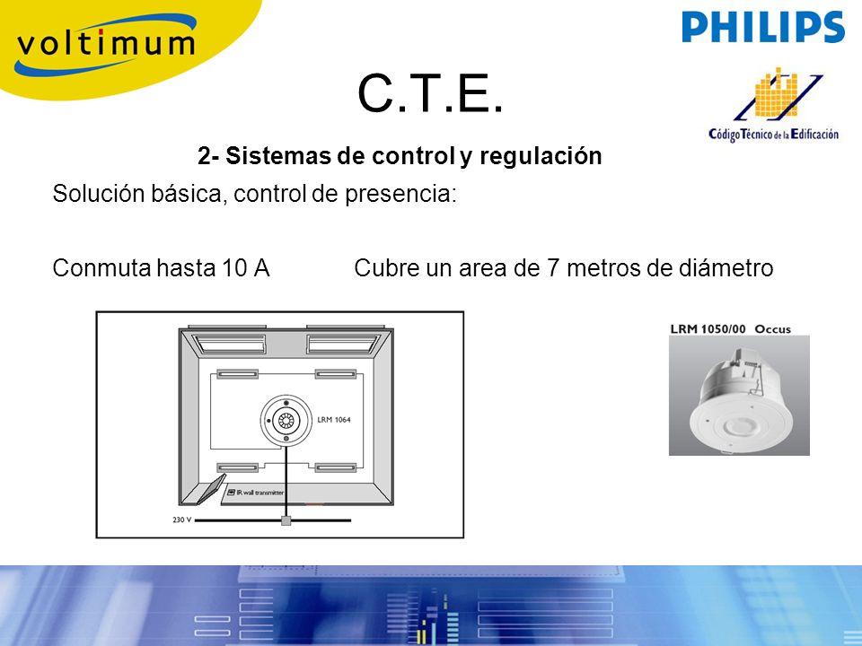 C.T.E. 2- Sistemas de control y regulación Solución básica, control de presencia: Conmuta hasta 10 ACubre un area de 7 metros de diámetro