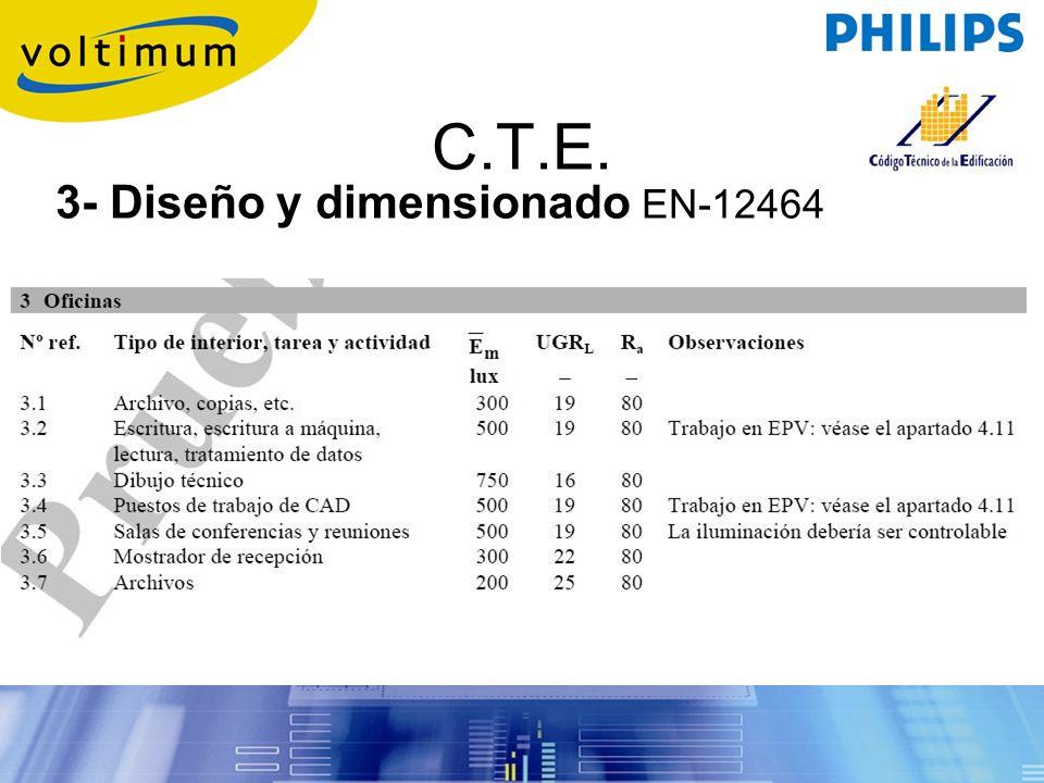C.T.E. 3- Diseño y dimensionado EN-12464