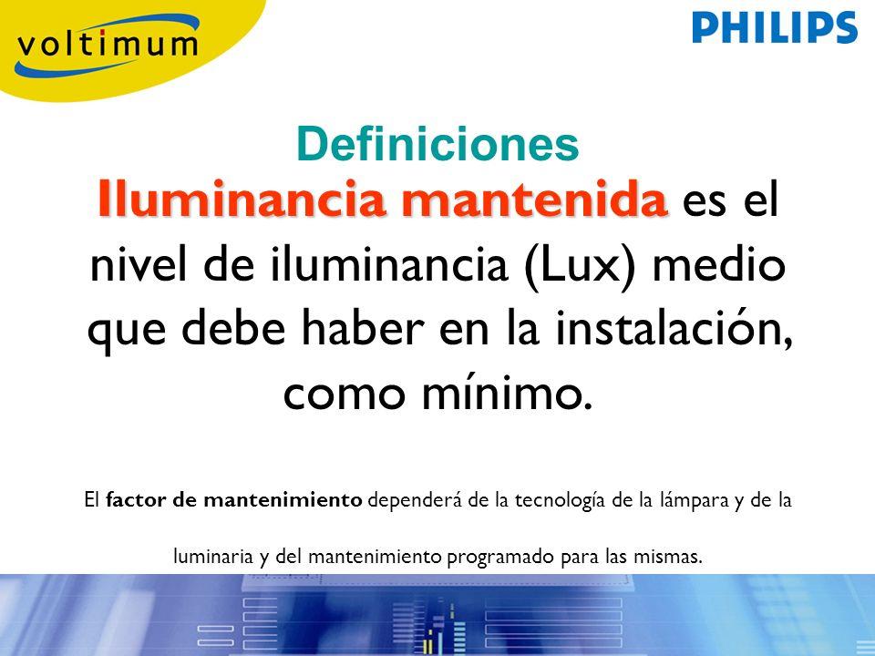 Iluminancia mantenida Iluminancia mantenida es el nivel de iluminancia (Lux) medio que debe haber en la instalación, como mínimo. El factor de manteni