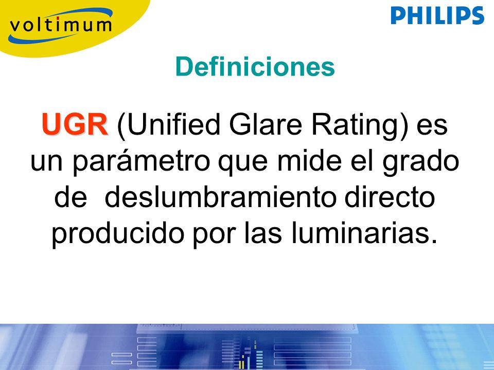UGR UGR (Unified Glare Rating) es un parámetro que mide el grado de deslumbramiento directo producido por las luminarias. Definiciones