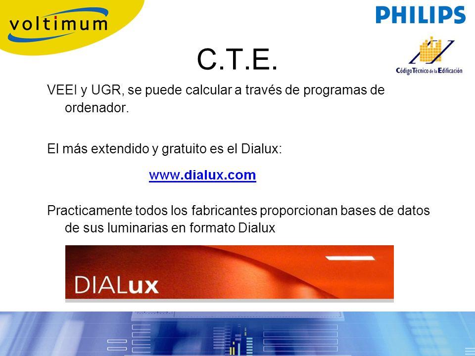 C.T.E. VEEI y UGR, se puede calcular a través de programas de ordenador. El más extendido y gratuito es el Dialux: Practicamente todos los fabricantes