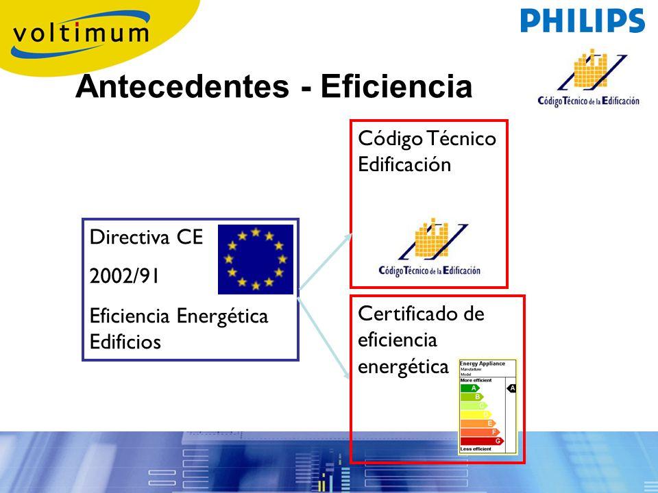 Directiva CE 2002/91 Eficiencia Energética Edificios Código Técnico Edificación Certificado de eficiencia energética Antecedentes - Eficiencia