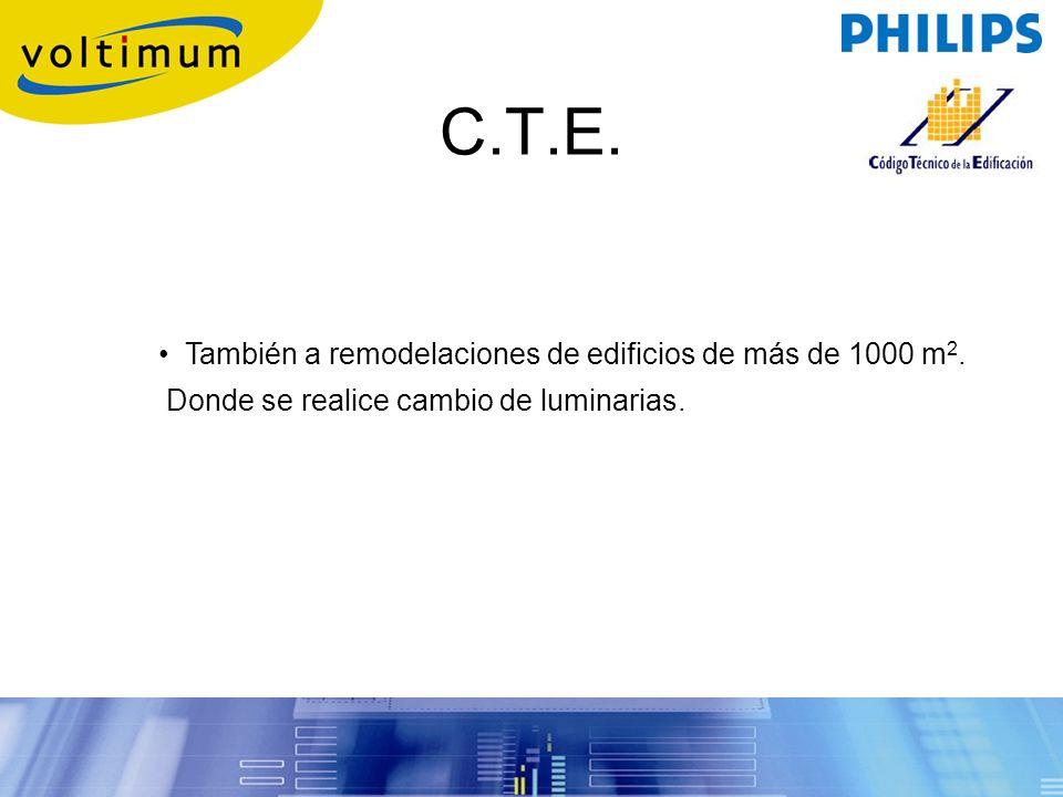 C.T.E. También a remodelaciones de edificios de más de 1000 m 2. Donde se realice cambio de luminarias.