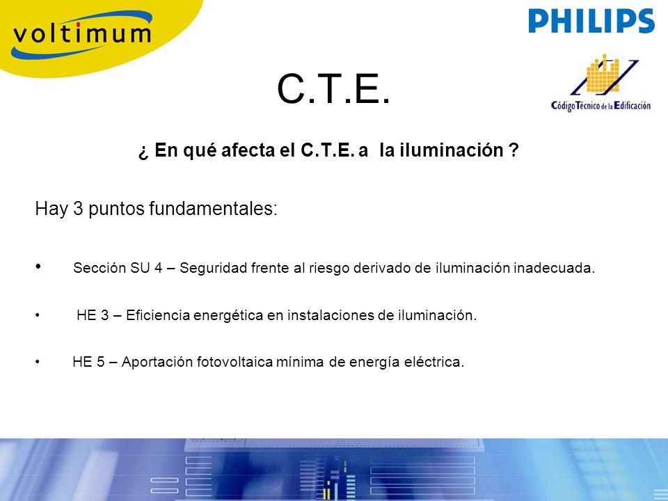 C.T.E. ¿ En qué afecta el C.T.E. a la iluminación ? Hay 3 puntos fundamentales: Sección SU 4 – Seguridad frente al riesgo derivado de iluminación inad