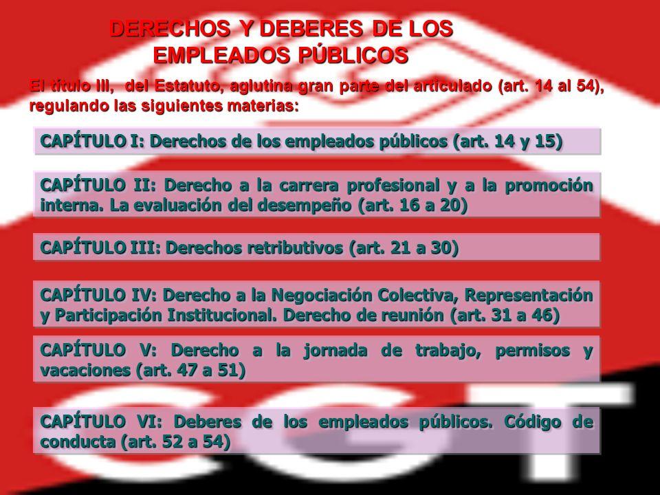 DERECHOS Y DEBERES DE LOS EMPLEADOS PÚBLICOS CAPÍTULO I: Derechos de los empleados públicos (art. 14 y 15) CAPÍTULO I: Derechos de los empleados públi