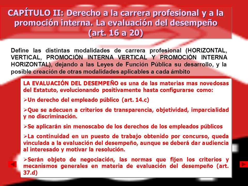 CAPÍTULO II: Derecho a la carrera profesional y a la promoción interna. La evaluación del desempeño (art. 16 a 20) CAPÍTULO II: Derecho a la carrera p