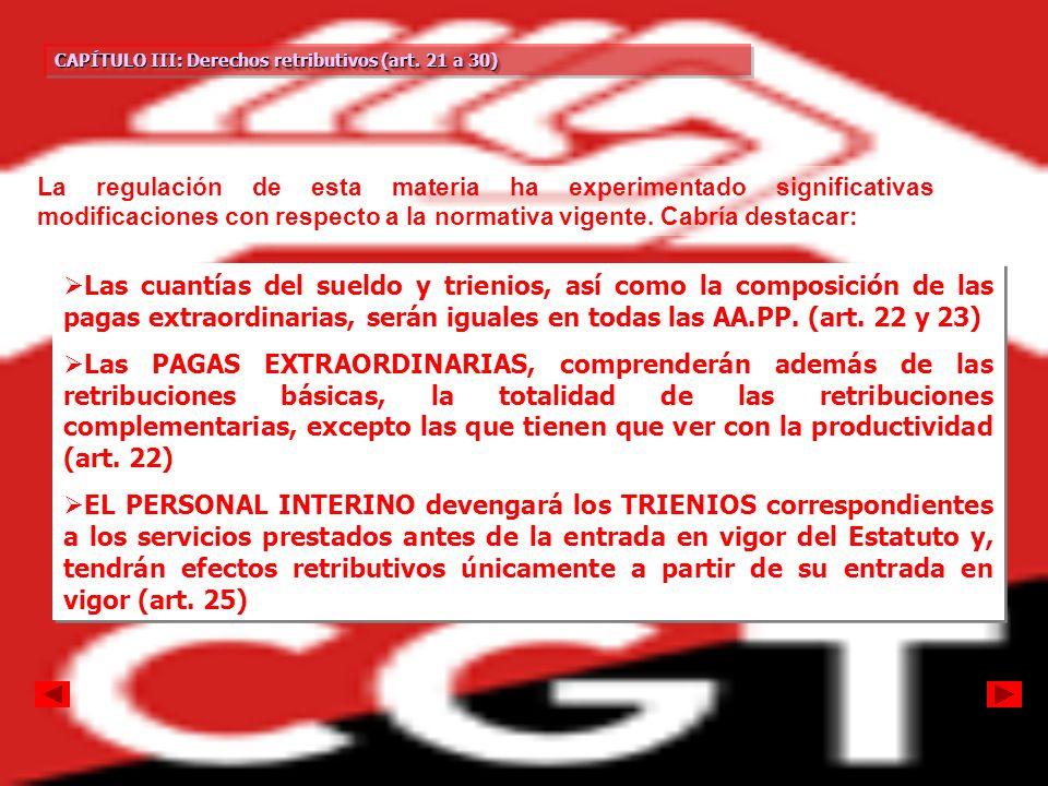 CAPÍTULO III: Derechos retributivos (art. 21 a 30) CAPÍTULO III: Derechos retributivos (art. 21 a 30) CAPÍTULO III: Derechos retributivos (art. 21 a 3