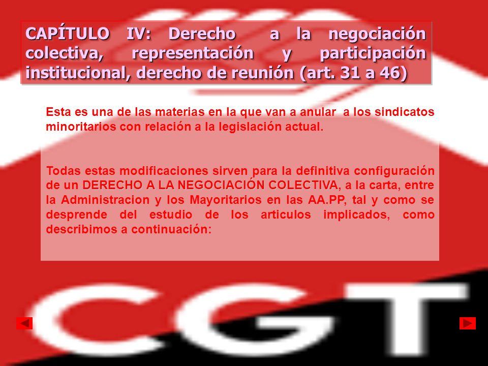 CAPÍTULO IV: Derecho a la negociación colectiva, representación y participación institucional, derecho de reunión (art. 31 a 46) CAPÍTULO IV: Derecho