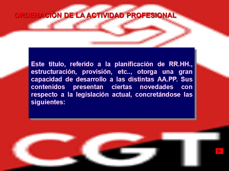ORDENACIÓN DE LA ACTIVIDAD PROFESIONAL Este título, referido a la planificación de RR.HH., estructuración, provisión, etc.., otorga una gran capacidad