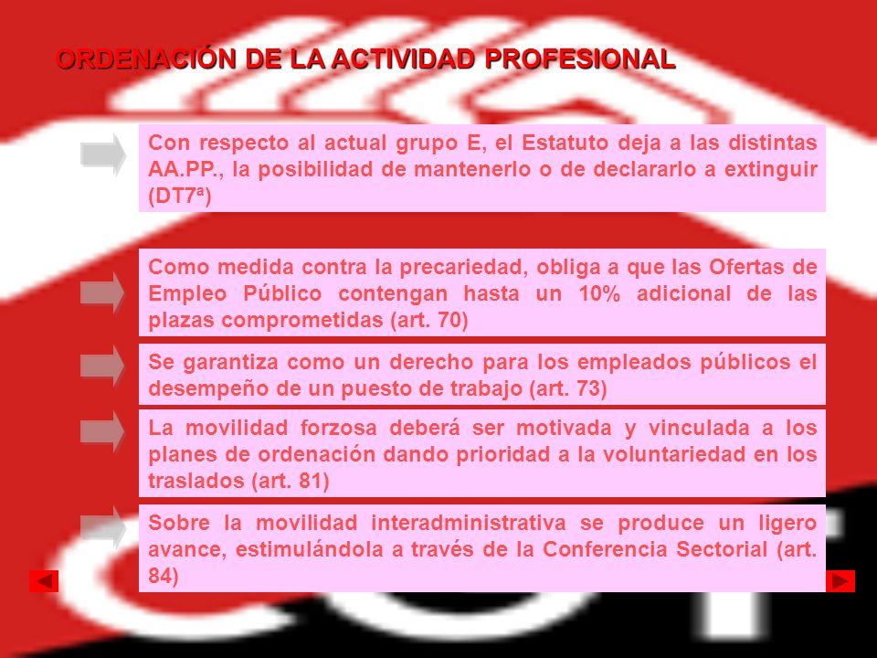 ORDENACIÓN DE LA ACTIVIDAD PROFESIONAL Con respecto al actual grupo E, el Estatuto deja a las distintas AA.PP., la posibilidad de mantenerlo o de decl