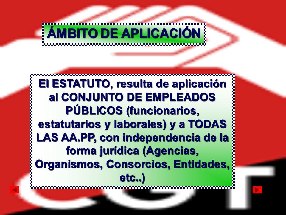 ÁMBITO DE APLICACIÓN El ESTATUTO, resulta de aplicación al CONJUNTO DE EMPLEADOS PÚBLICOS (funcionarios, estatutarios y laborales) y a TODAS LAS AA.PP