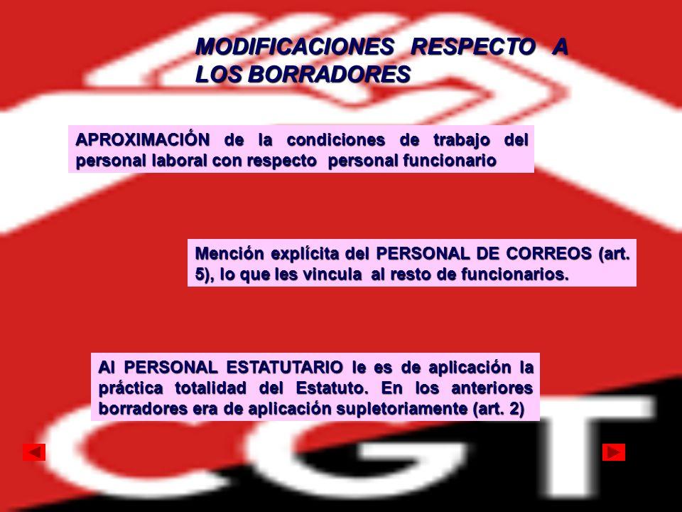 APROXIMACIÓN de la condiciones de trabajo del personal laboral con respecto personal funcionario Mención explícita del PERSONAL DE CORREOS (art. 5), l