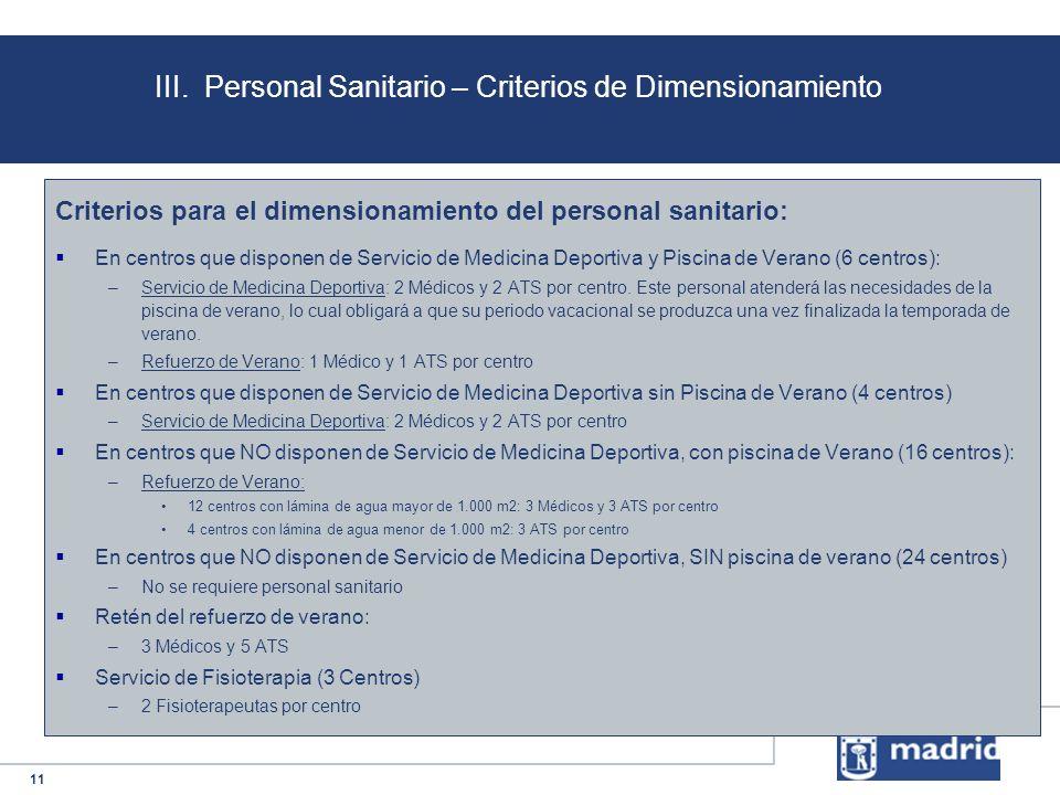 11 III. Personal Sanitario – Criterios de Dimensionamiento Criterios para el dimensionamiento del personal sanitario: En centros que disponen de Servi