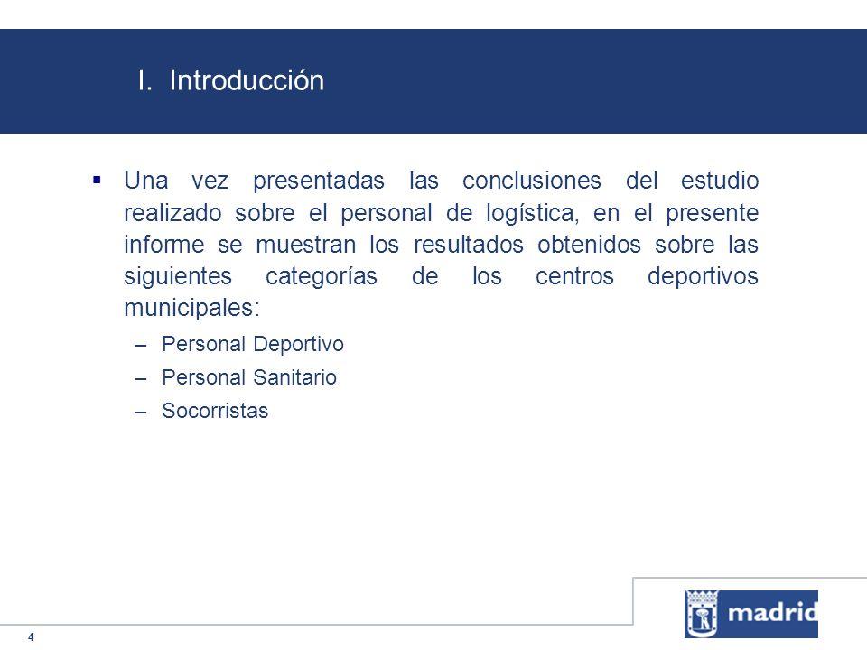 4 I. Introducción Una vez presentadas las conclusiones del estudio realizado sobre el personal de logística, en el presente informe se muestran los re