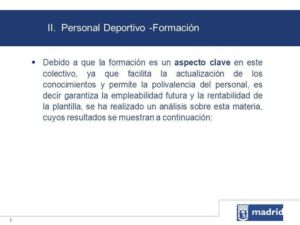 7 II. Personal Deportivo -Formación Debido a que la formación es un aspecto clave en este colectivo, ya que facilita la actualización de los conocimie