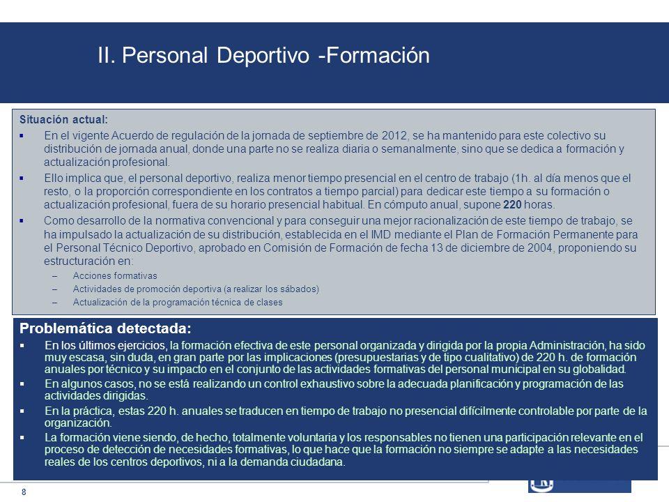 8 II. Personal Deportivo -Formación Situación actual: En el vigente Acuerdo de regulación de la jornada de septiembre de 2012, se ha mantenido para es