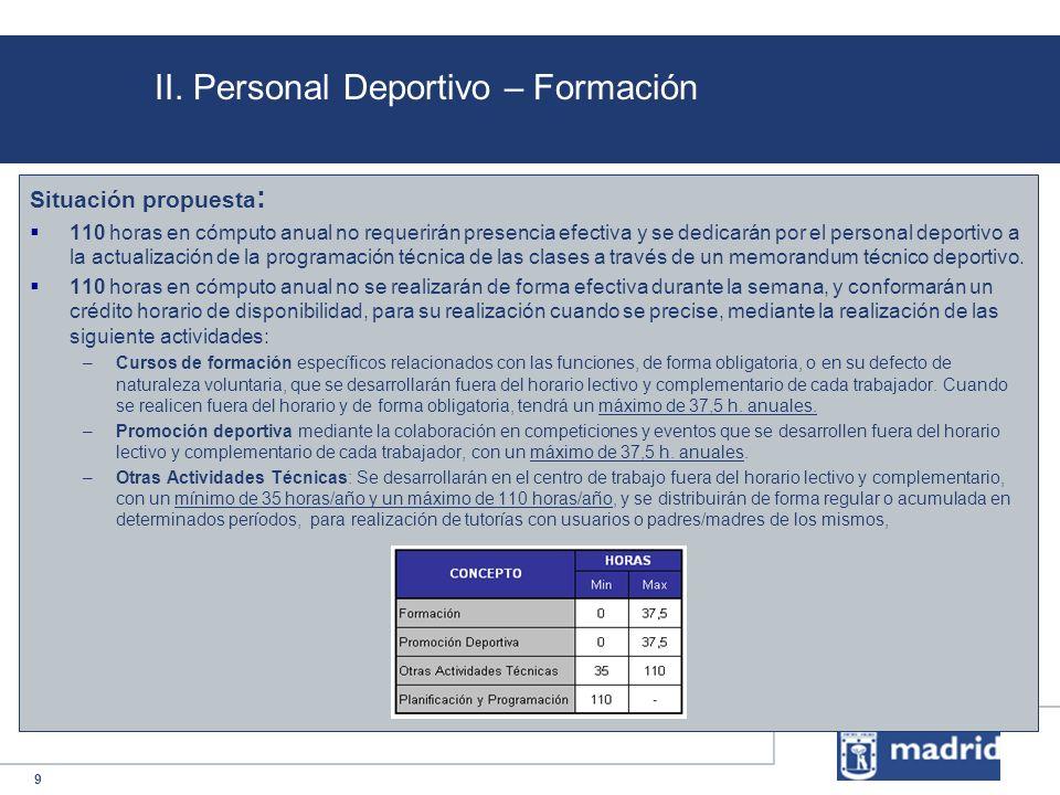 9 II. Personal Deportivo – Formación Situación propuesta : 110 horas en cómputo anual no requerirán presencia efectiva y se dedicarán por el personal