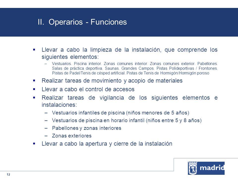 12 II. Operarios - Funciones Llevar a cabo la limpieza de la instalación, que comprende los siguientes elementos: –Vestuarios. Piscina interior. Zonas