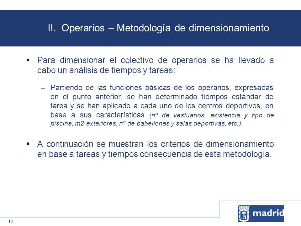 13 II. Operarios – Metodología de dimensionamiento Para dimensionar el colectivo de operarios se ha llevado a cabo un análisis de tiempos y tareas: –P
