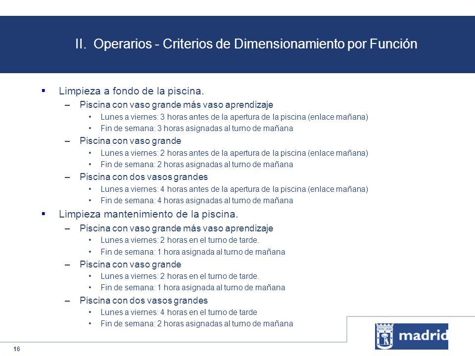 16 II. Operarios - Criterios de Dimensionamiento por Función Limpieza a fondo de la piscina. –Piscina con vaso grande más vaso aprendizaje Lunes a vie