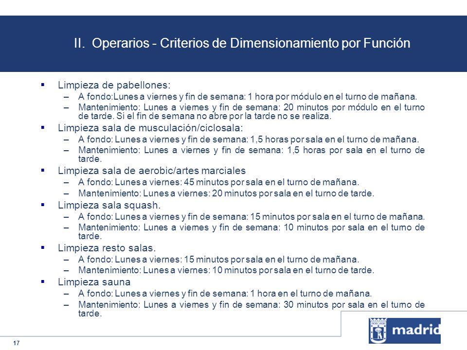 17 II. Operarios - Criterios de Dimensionamiento por Función Limpieza de pabellones: –A fondo:Lunes a viernes y fin de semana: 1 hora por módulo en el
