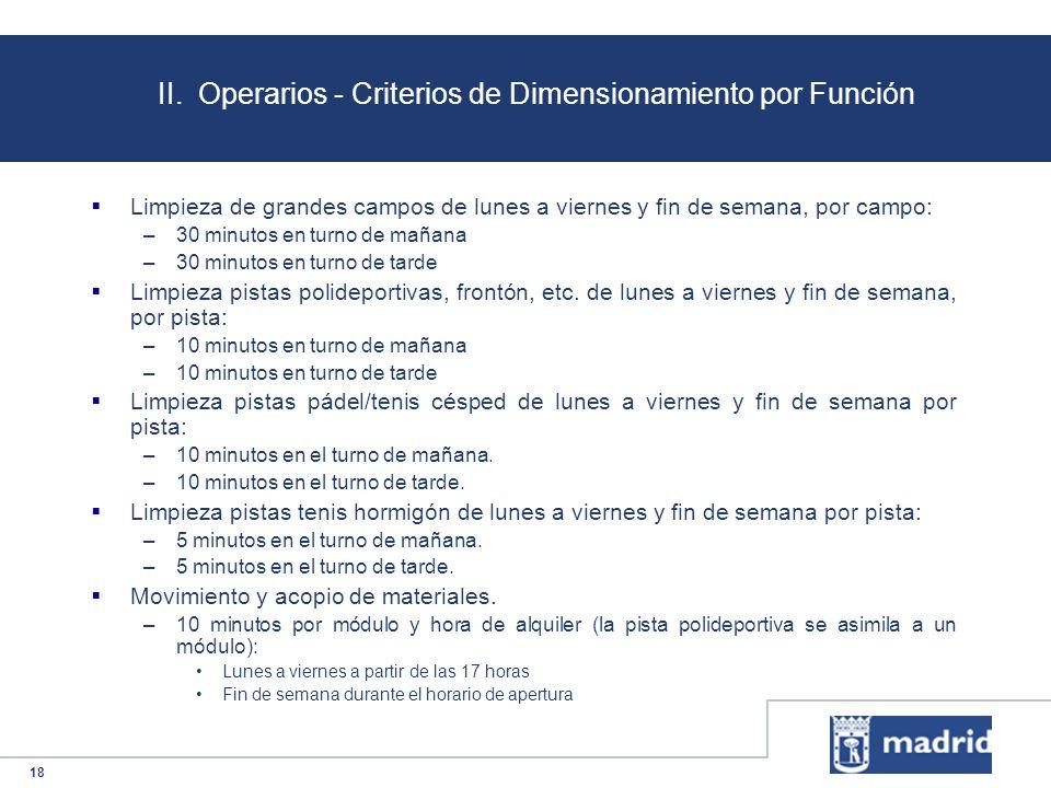 18 II. Operarios - Criterios de Dimensionamiento por Función Limpieza de grandes campos de lunes a viernes y fin de semana, por campo: –30 minutos en